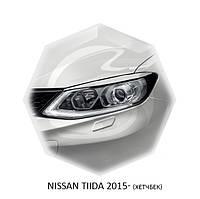 Реснички на фары Nissan TIIDA 2015+ г.в. (хетчбек) Нисан Тиида