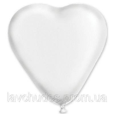 """Латексные шары  сердце 10"""" пастель белый"""
