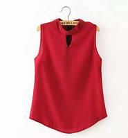 Стильная элегантная женская блузка красного цвета с коротким рукавом