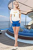 Короткие женские шорти из стрейч-тиара 42-48 размеры, фото 1