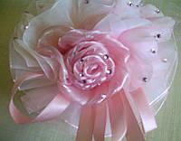 """Бант """"Роза"""" декоративный, на резинке, нежно-розовый"""