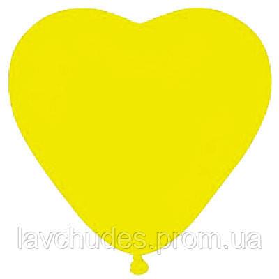 """Латексные шары  сердце 10"""" пастель желтое"""