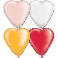 """Латексные шары  сердце 5"""" пастель ассорти. Шары оптом."""