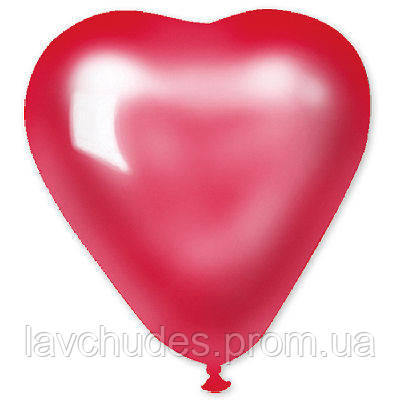 "Латексные шары  сердце 5"" металлик красное. Шары оптом."