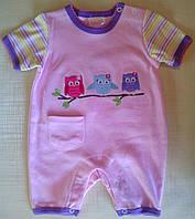 """Песочник ромпер для новорожденной, летний, розовый """"Совушки"""""""