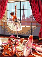 Картины по номерам 30×40 см.  Котенок и пуанты