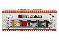 Набор красок по стеклу 25мл*6шт. +кисточка