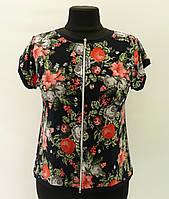"""Блузка """"Лилия"""" коралловый цветок на молнии, 50-60 размер"""