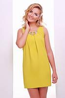 Летнее горчичное мини платье Фея 42-50 размеры