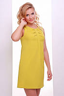 Горчичное летнее короткое платье Астра 42-50 размеры