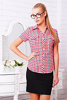 Рубашка женская в бордовую клетку коттоновая по фигуре