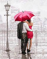 Картины по номерам 40×50 см. Влюбленные под красным зонтом