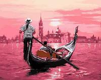 Картины по номерам 40×50 см. Розовый закат Венеции