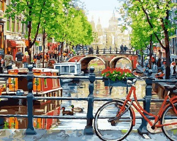 Картины по номерам 40×50 см. Прогулка на велосипеде