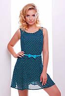 Летнее короткое платье синее в горошек Амур 42-50 размеры