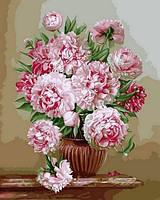 Картины по номерам 40×50 см. Пионовый букет, фото 1