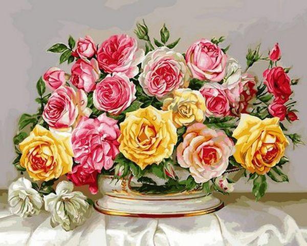 Картины по номерам 40×50 см. Розовое великолепие