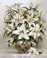Картины по номерам 40×50 см. Белоснежные лилии