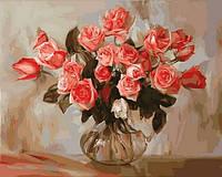 Картины по номерам 40×50 см. Коралловые розы