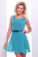 Летнее короткое платье бирюзовое в горошек Амур 42-50 размеры