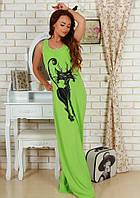 Женское длинное летнее  платье Кошка