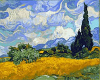 Живопись по номерам 40×50 см. Пшеничное поле с кипарисами