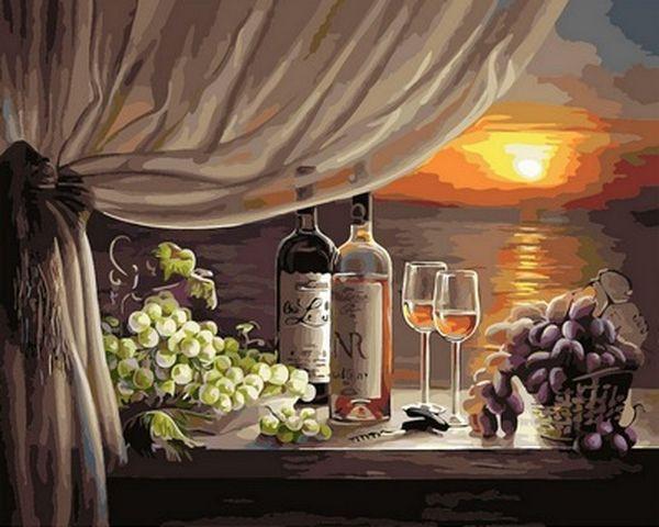 Картины по номерам 40×50 см. Вино на закате