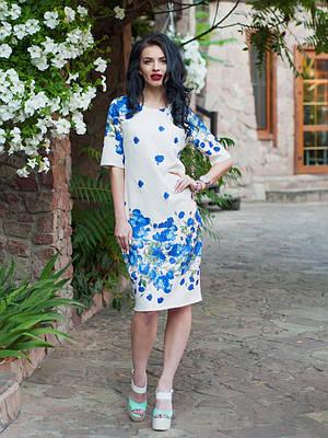 Нарядное женское белое платье с розами