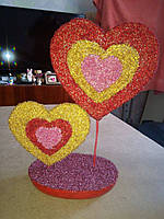 Валентинка ручной работы из бисера. Размер 35х24 см