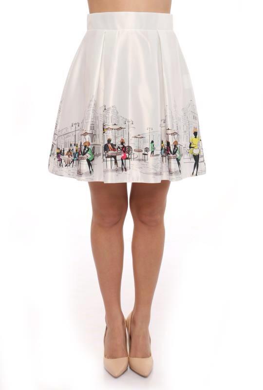 Красивая белая юбка с принтом