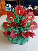 Изделие ручной работы из бисера Цветок Антуриум из бисера. Диаметр 35х30 см.