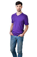 Футболка мужская фиолетовая из хлопка