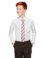 Школьная рубашка белая с длинным рукавом на мальчика 8-9-10 лет Easy to Iron Marks&Spencer (Англия)