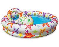 Детский надувной бассейн с надувным кругом и мячом Шарики Intex 59460