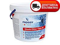 """Быстрорастворимый хлор """"ChloriShock Tabs 20"""" Froggy, 4кг (в таблетках)"""