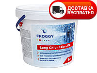 "Медленно растворимый хлор ""Long Chlor Tabs 200"" Froggy, 1кг (в таблетках)"