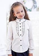 Нарядная белая школьная блуза с длинным рукавом 122р