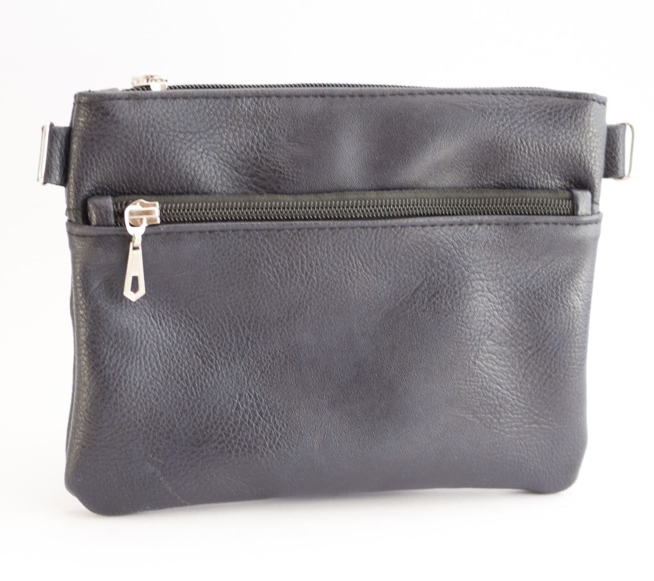 Стильная женская сумка почтальонка с гладкой эко кожи темно синего цвета Б/Н art. T17