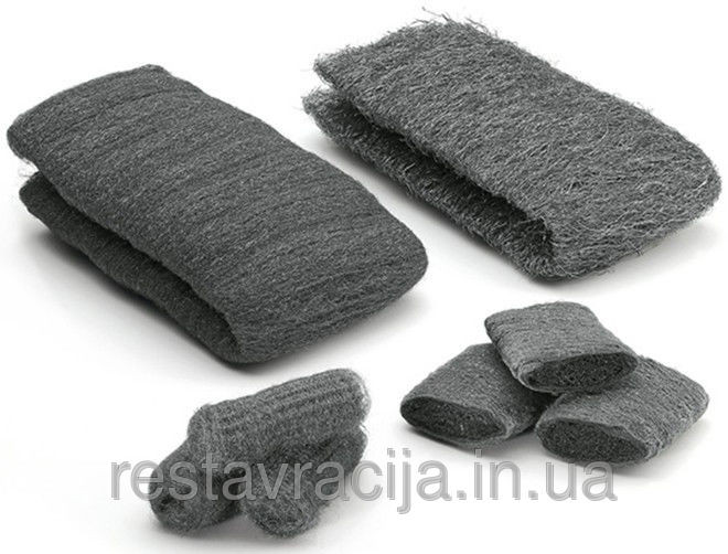 """Стальная вата (шерсть) """"00"""", Steel Wool, 1 метр, 50-60 грамм"""