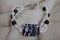 Браслет из кораллов и агата «Домино», фото 1