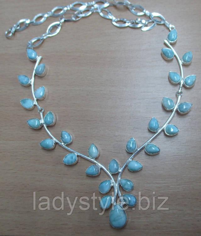 купить ларимар натуральный сереброаметист лунный камень серебряное колье ожерелье
