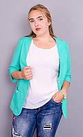 Карина. Стильный пиджак женский супер батал. Мята., фото 1