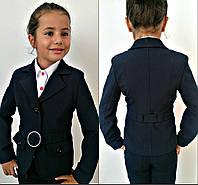 Школьный пиджак для девочки-подростка с поясом.