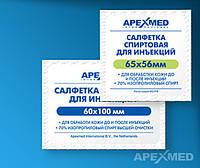 Спиртовая салфетка  65*56 мм APEXMED для инъекций (уп.100 шт.)