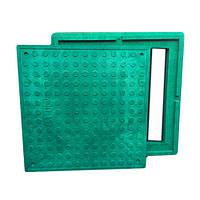 """Люк квадратный """"Garden"""" полимерпесчаный зелёный (1,5т) р.480/640"""