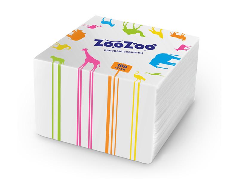ZooZoo салфетки 100шт 24*23 белые 1 слой