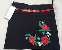 Юбка девочке с вышивкой в школу, 32-40 р-ры, 225/185 (цена за 1 шт. + 40 гр.)