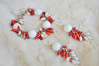 Комплект браслет и серьги с кораллами и кахолонгом «Сакура»