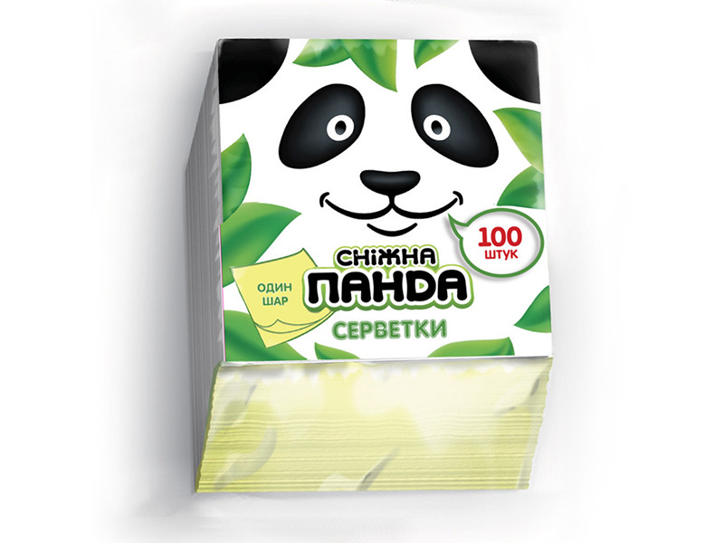 Снежная панда салфетки столовые 100шт 24*24 желтые 1 слой