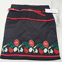 Черная юбка девочке в школу вышитая, 36-42 р-ры, 245/215 (цена за 1 шт. + 30 гр.)